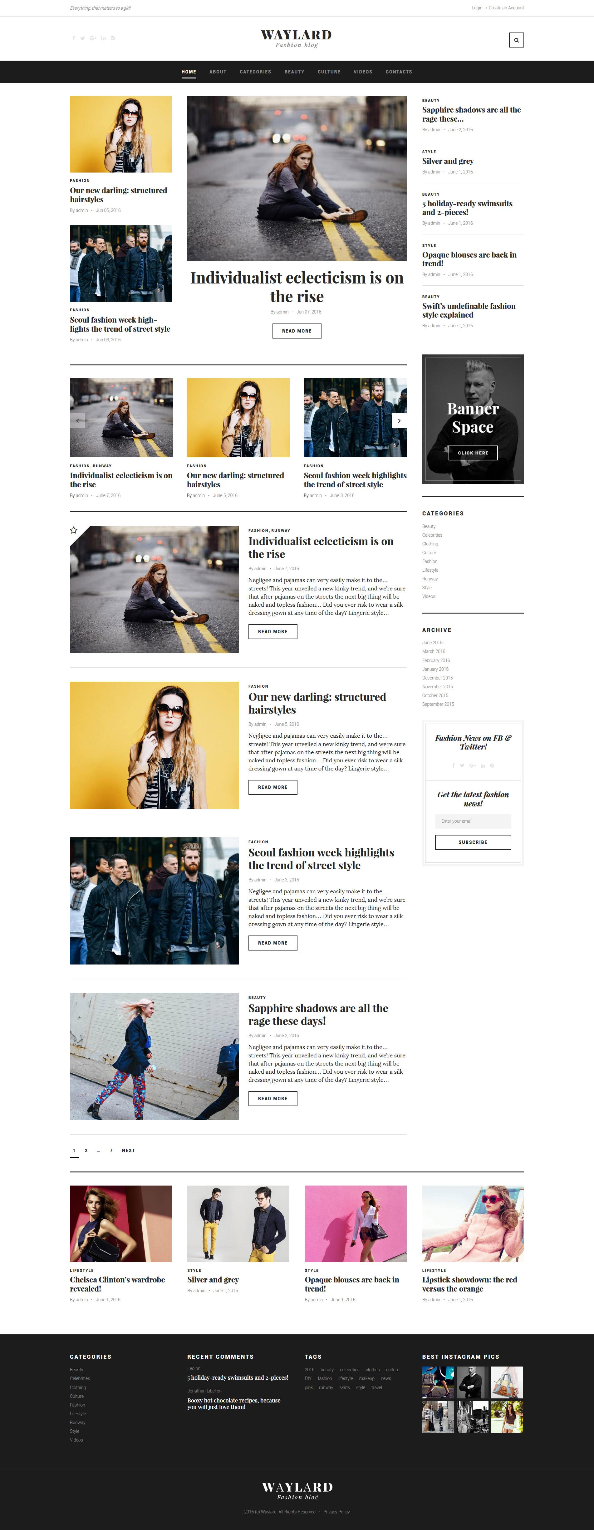 """Waylard - Fashion Blog & Magazine"" Responsive WordPress thema №58904"