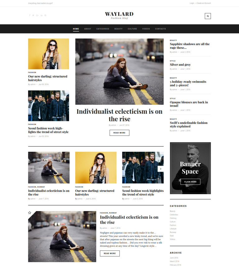 Waylard - Fashion Blog & Magazine WordPress Theme