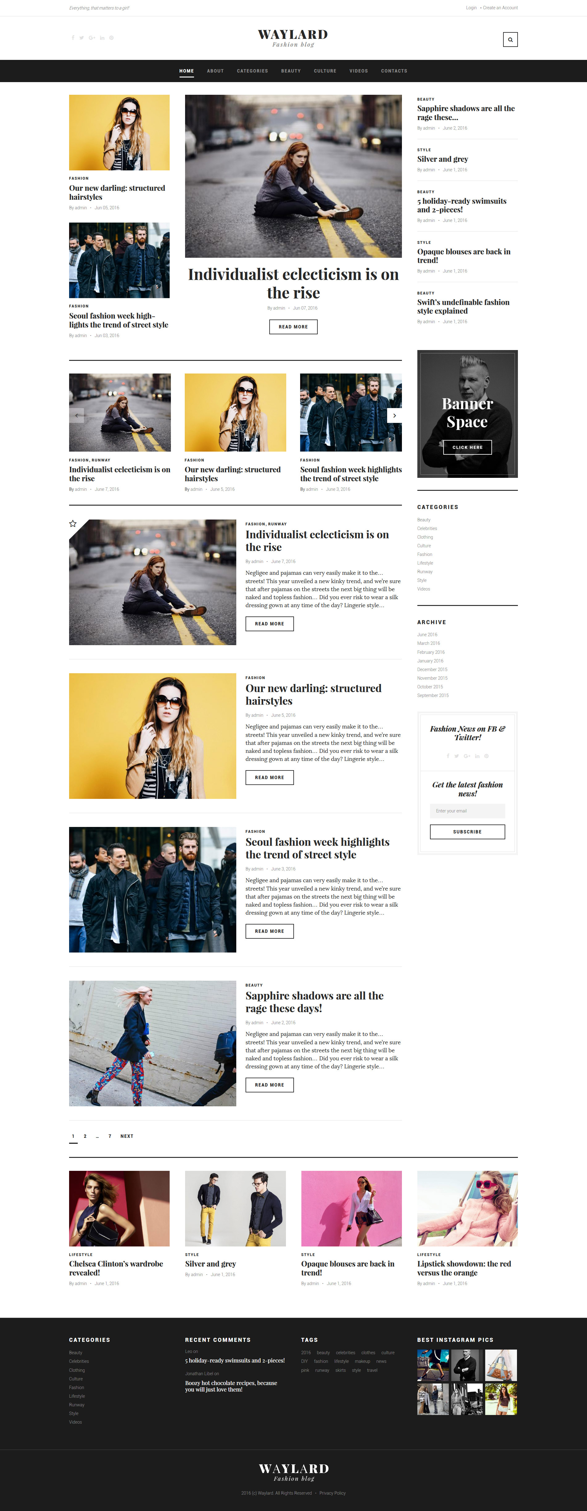 """Waylard - Fashion Blog & Magazine"" 响应式WordPress模板 #58904"