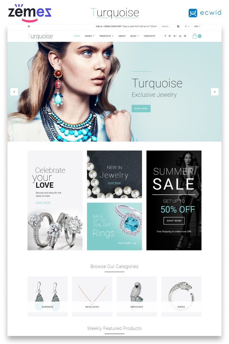 "Website Vorlage namens ""Turquoise"" #58937 - Screenshot"