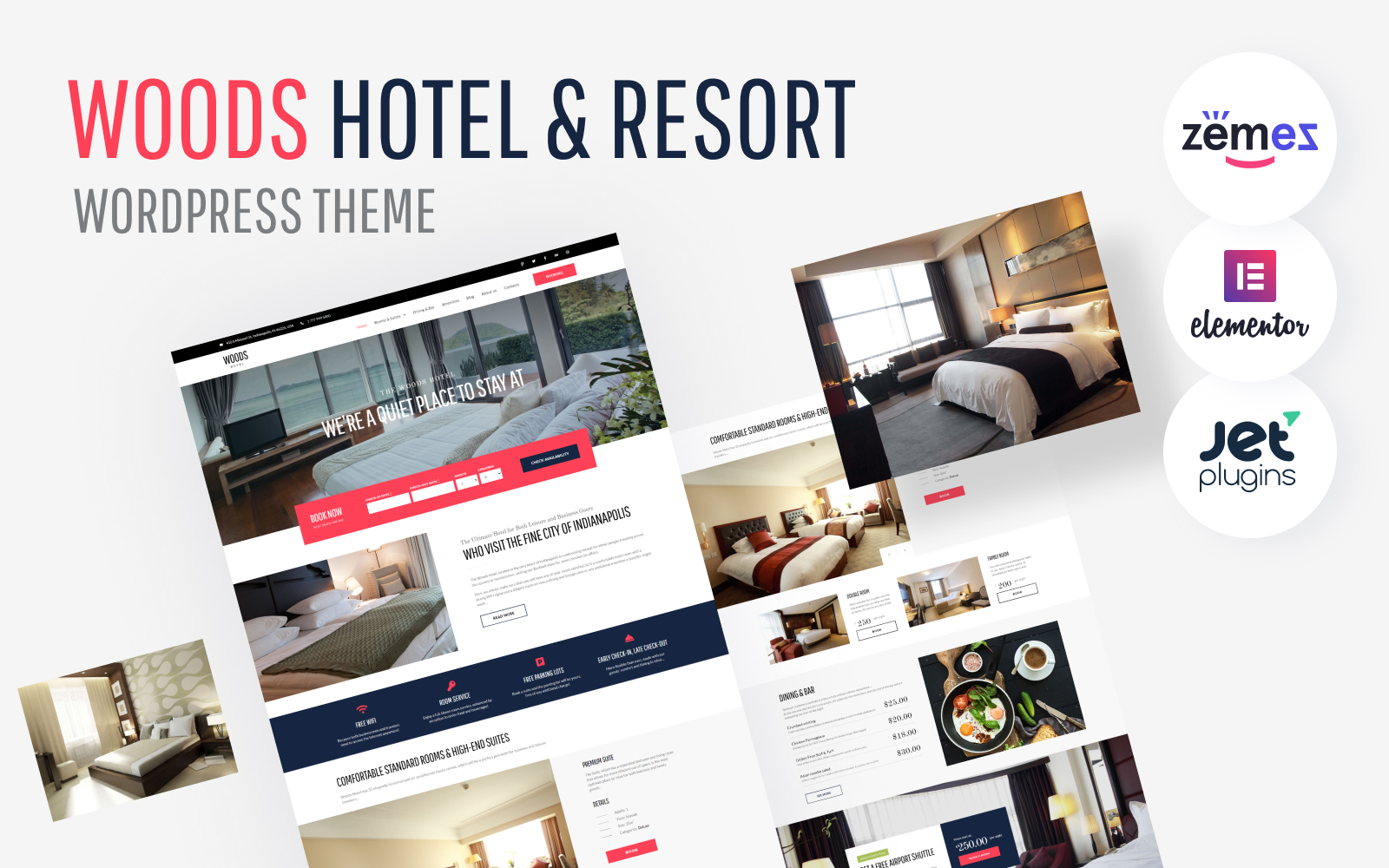 """Woods Hotel - Hotel & Resort"" - адаптивний WordPress шаблон №58970"
