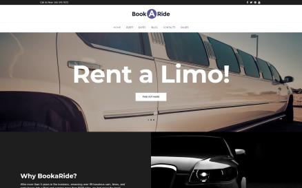 BookaRide - Limousine Car Rental Services WordPress Theme