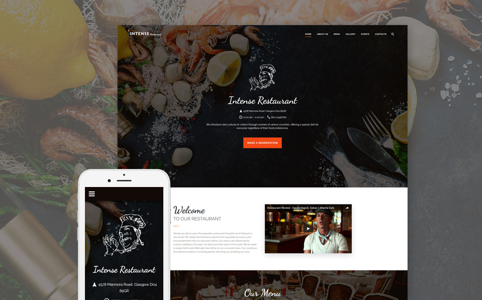INTENSE Restaurant template illustration image