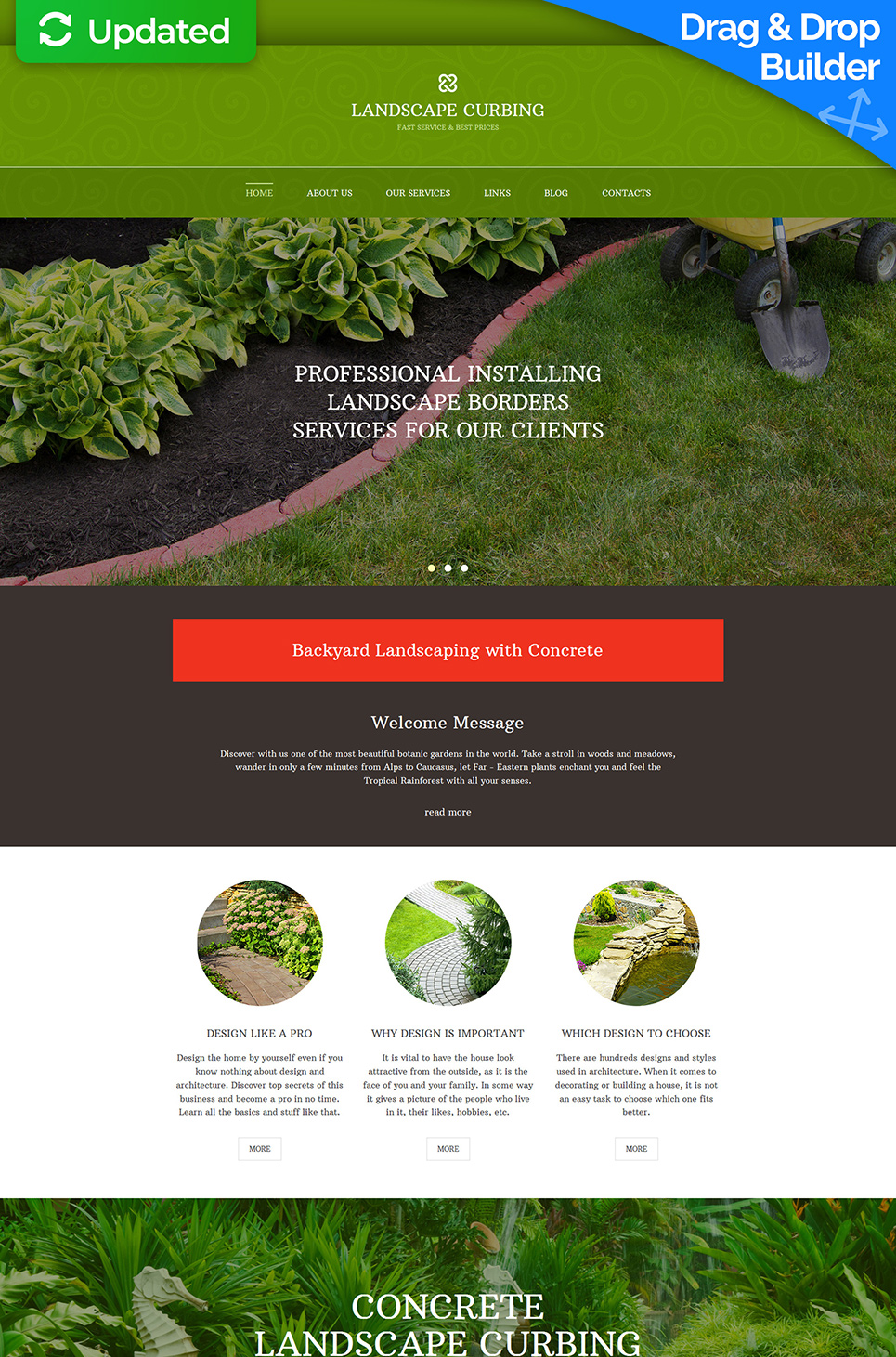 Responsive theme for exterior design site