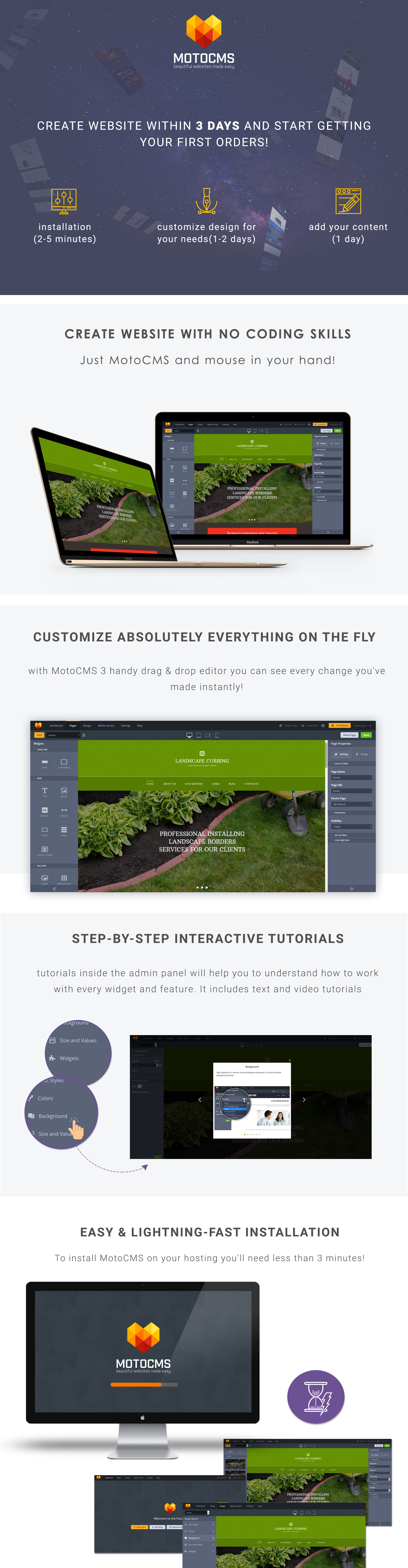 Landscape Curbing  Responsive Moto CMS 3 Template