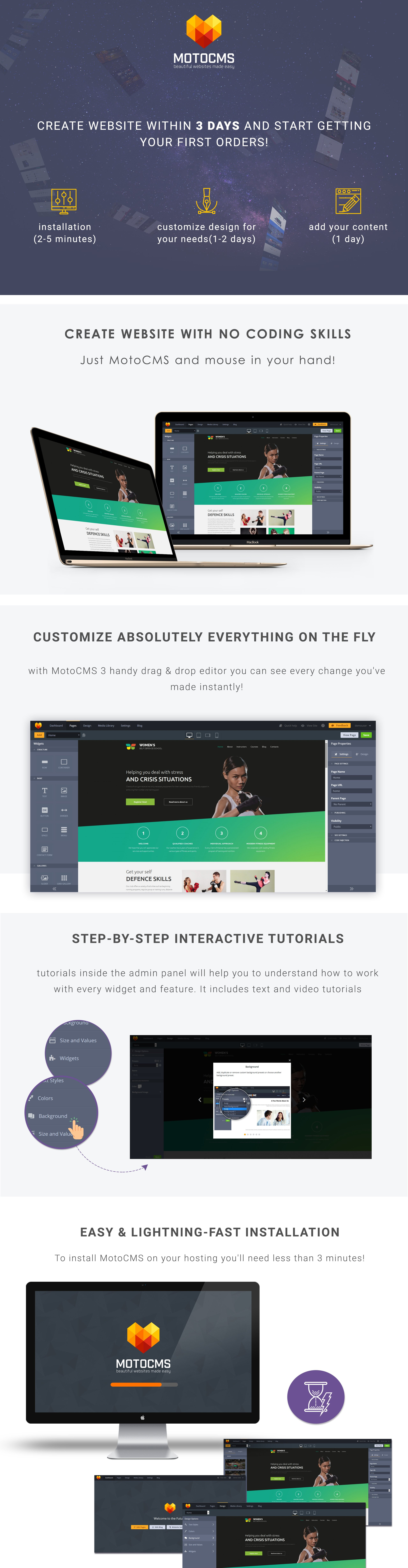 Best Martial Arts Moto CMS 3 Template