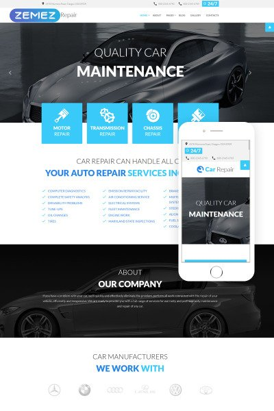 Car Repair Responsive Joomla模板