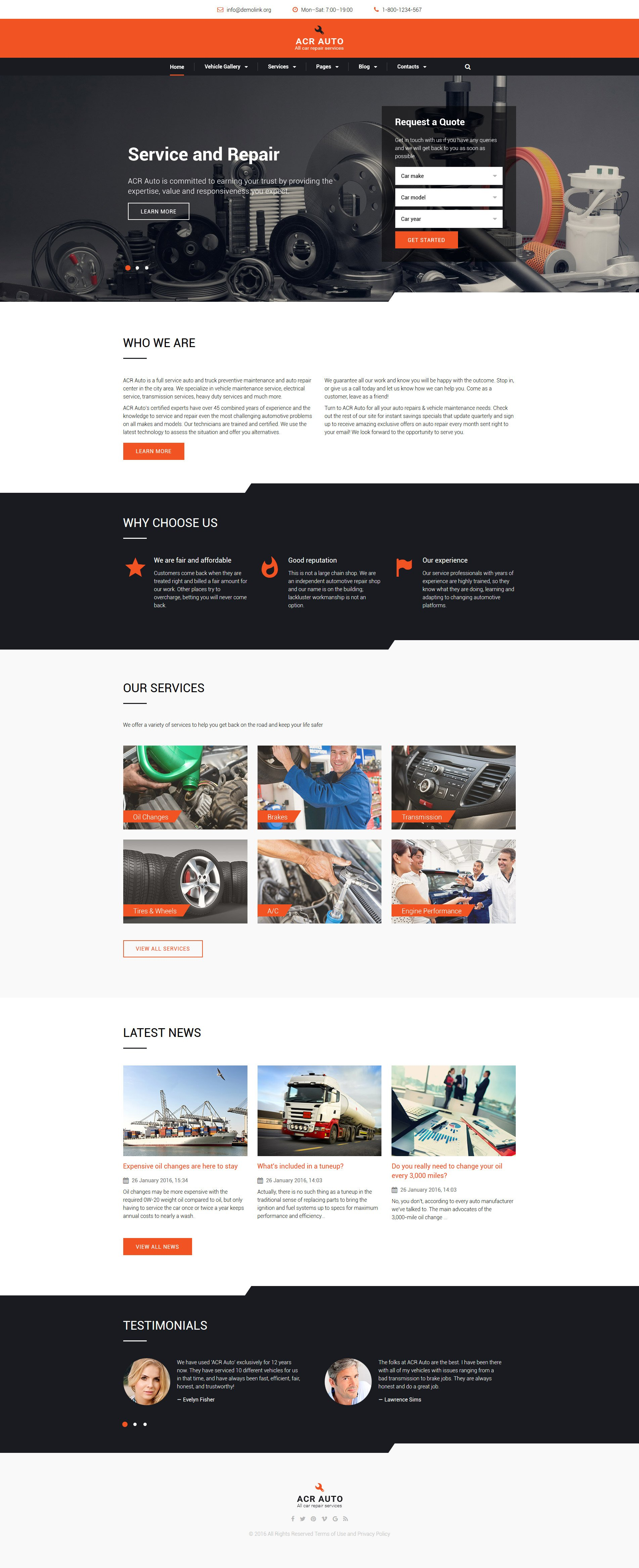 ACR Auto - Car Repair Modern Multipage HTML Website Template
