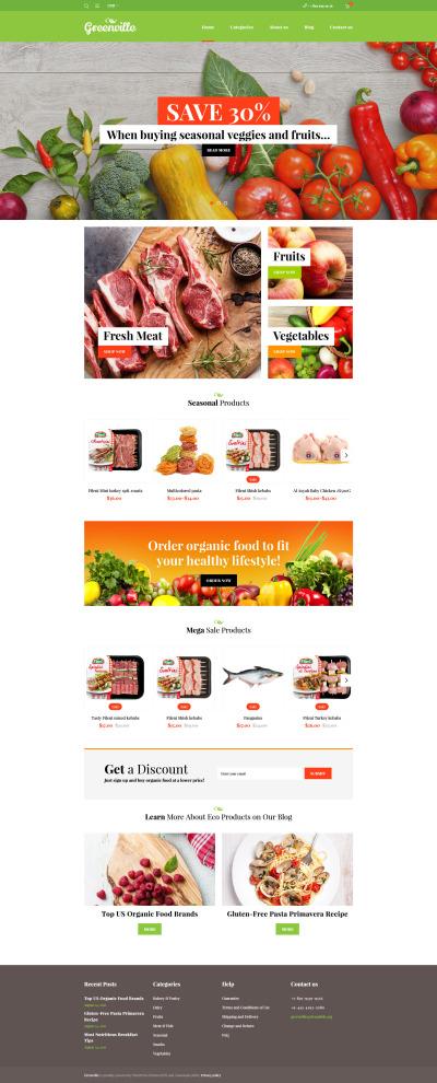 Адаптивный WooCommerce шаблон №59047 на тему магазин еды #59047