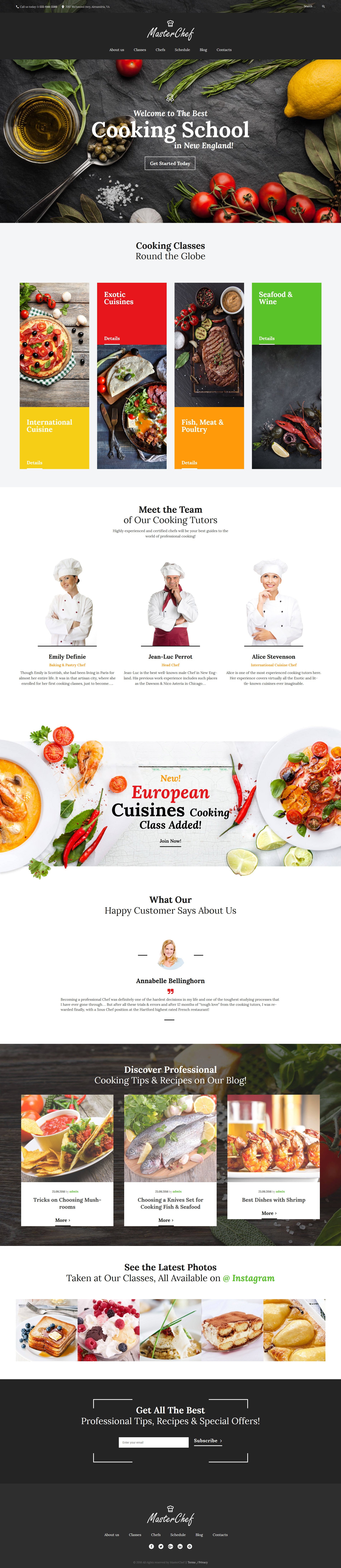 Адаптивный шаблон сайта на тему кулинарная школа #59011