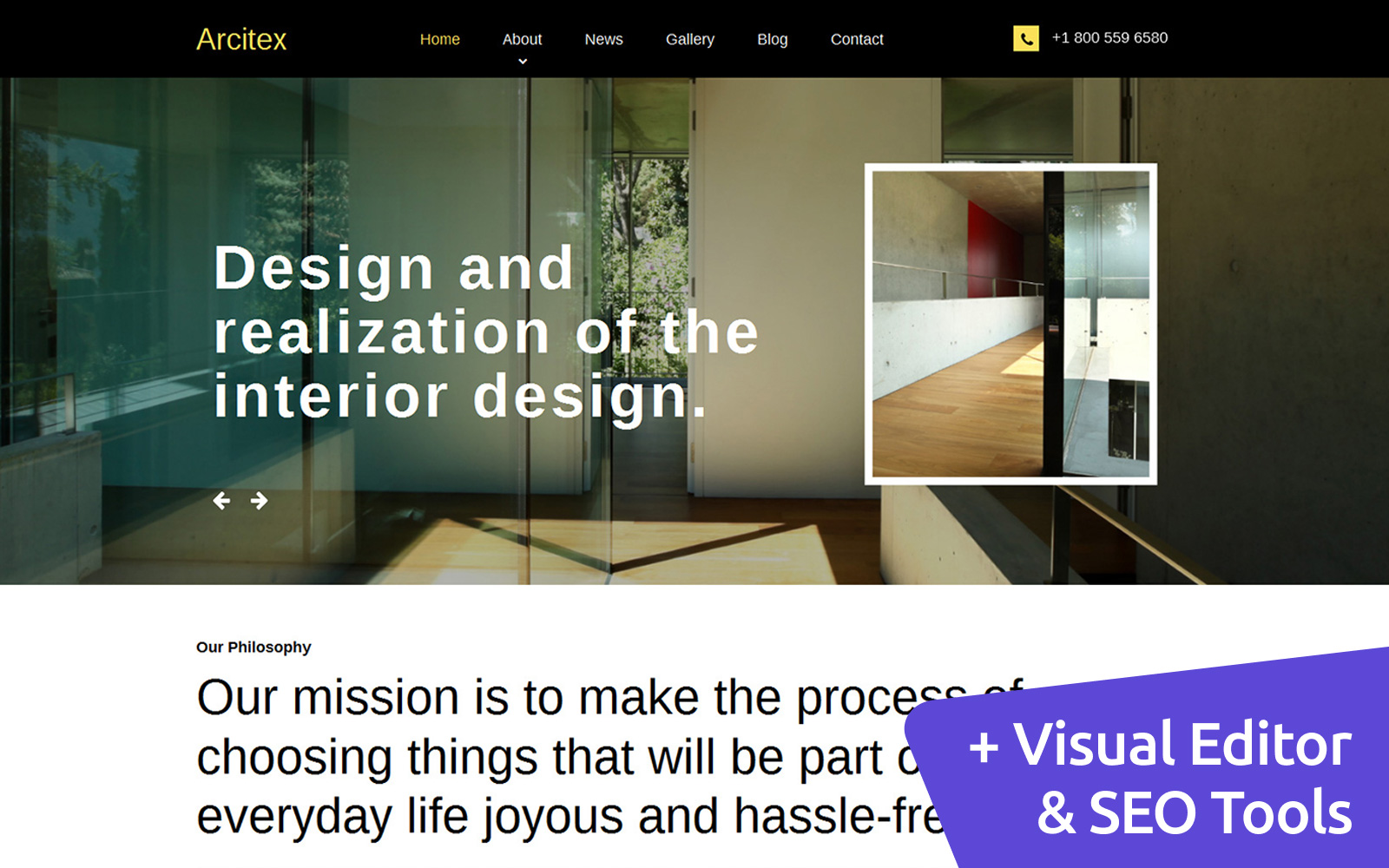 """""""Archtex - Architectural Services"""" Responsive Moto CMS 3 Template №59074"""