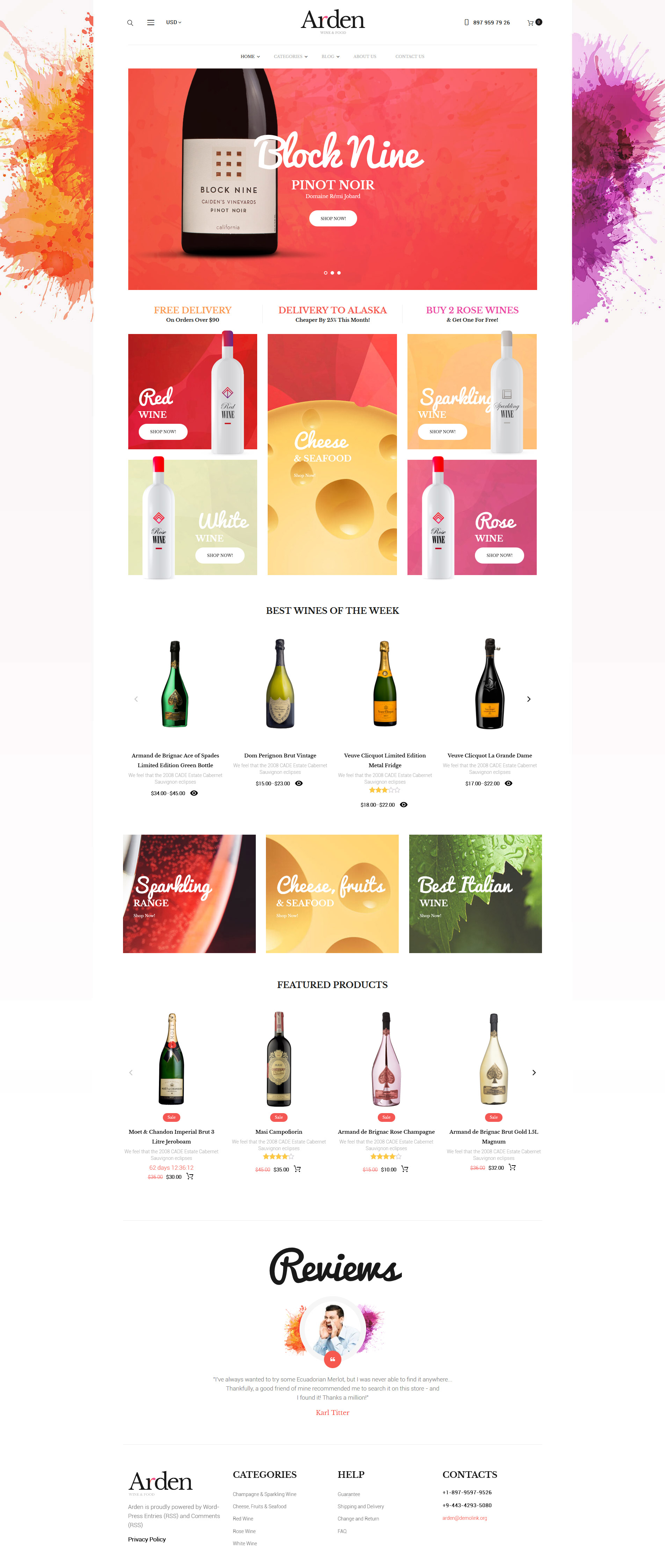 Arden - Wine And Food Online Store WooCommerce Theme - screenshot