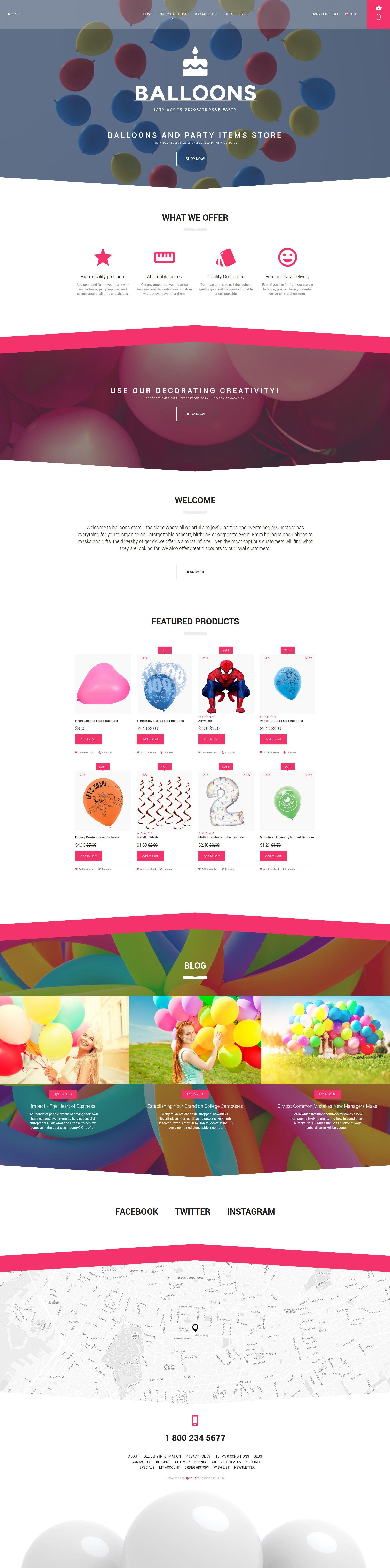 """Balloons"" - адаптивний OpenCart шаблон №59093"