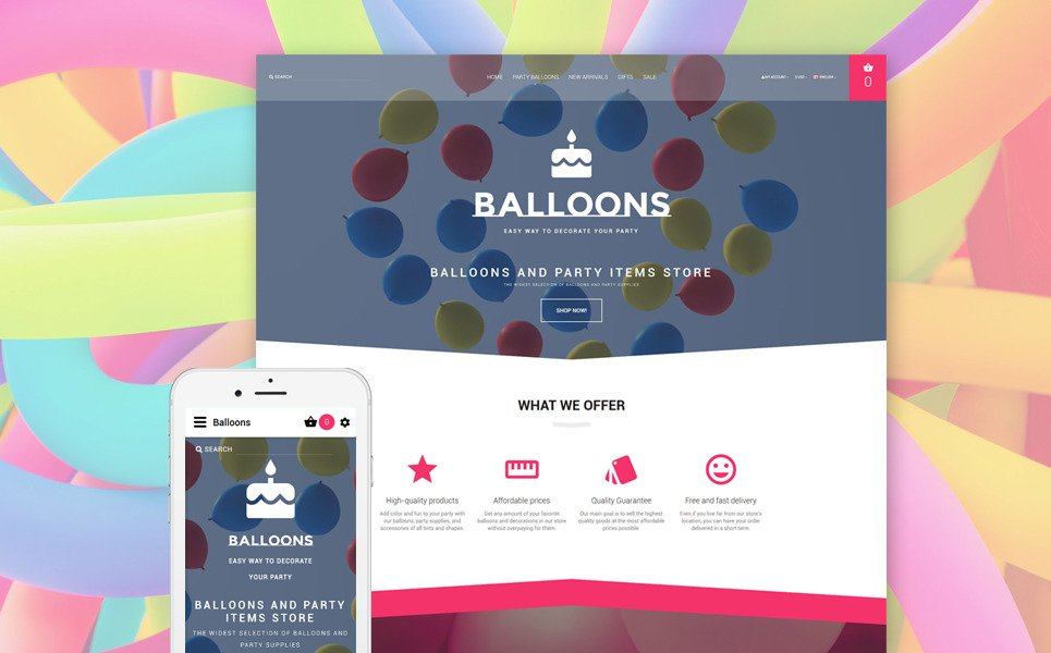 Balloons OpenCart Template New Screenshots BIG