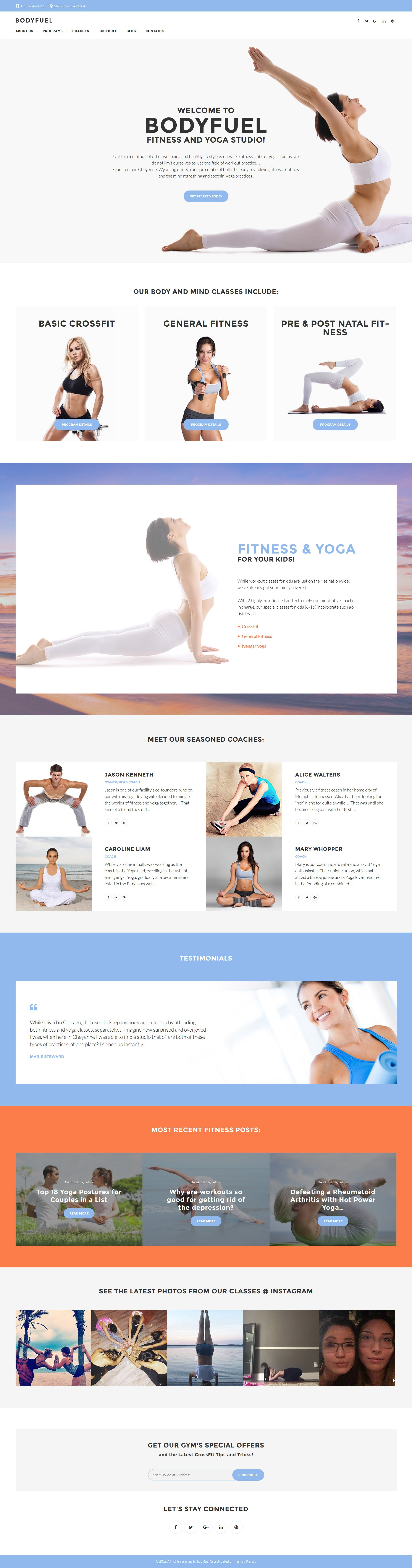 BodyFuel - Fitness & Yoga WordPress Theme - screenshot