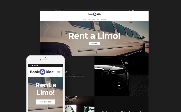 BookaRide - Limousine Car Rental Services WordPress Theme New Screenshots BIG