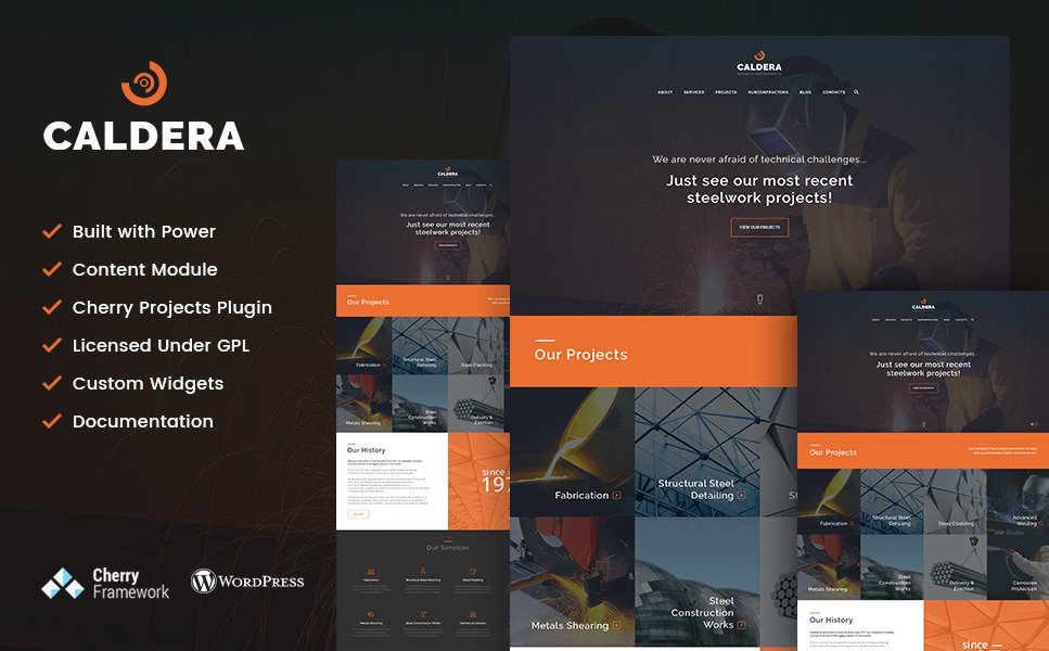 Caldera - Steelworks and Constructions WordPress Theme New Screenshots BIG