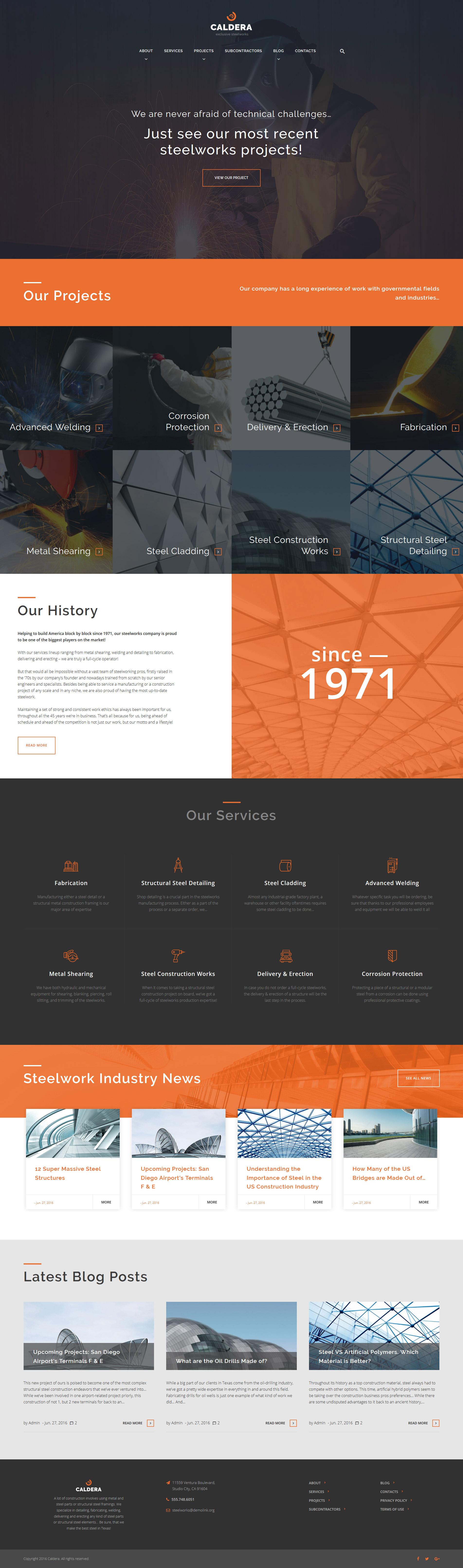 """Caldera - Steelworks and Constructions"" 响应式WordPress模板 #59027"