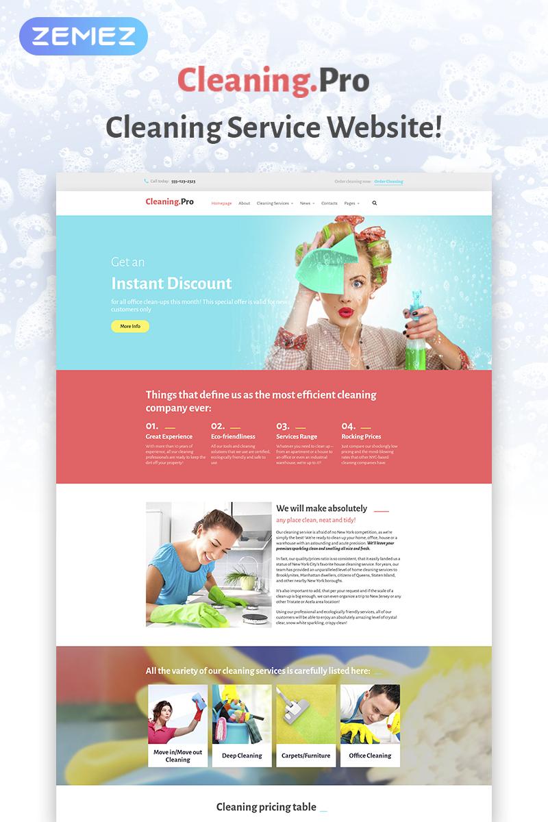 """Cleaning & Maid Service Company"" Responsive WordPress thema №59004"