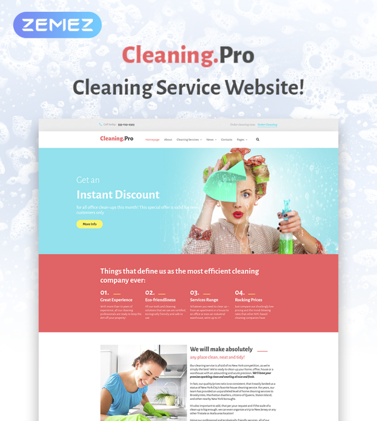 Cleaning & Maid Service Company WordPress Theme