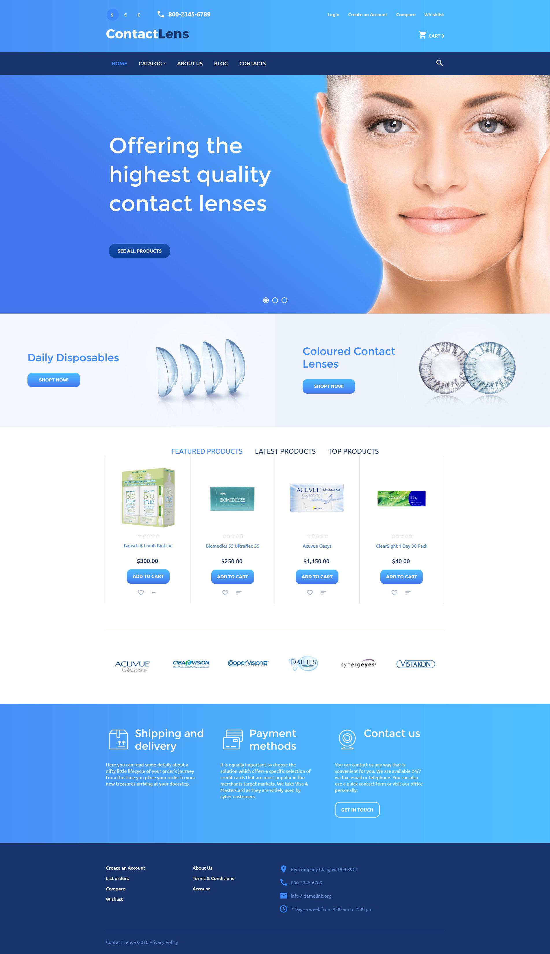 """""""Contact Lens"""" - VirtueMart шаблон №59085"""