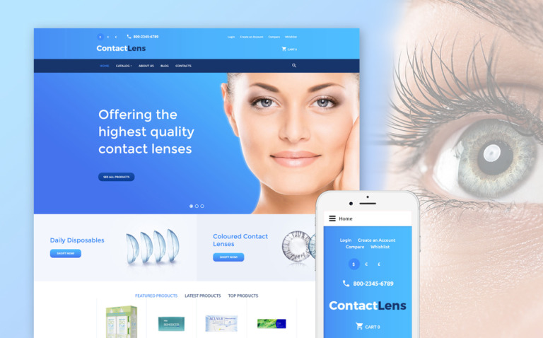 Contact Lens VirtueMart Template New Screenshots BIG