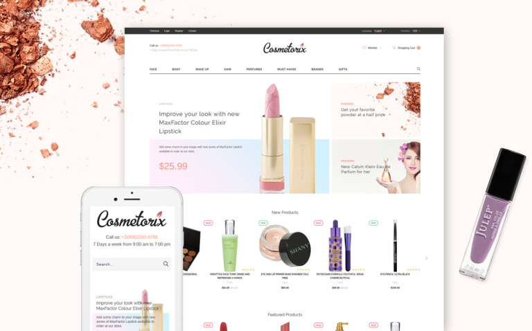 Cosmetorix - Responsive Cosmetics Store OpenCart template + RTL New Screenshots BIG