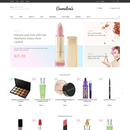Cosmetorix - OpenCart Template based on Bootstrap