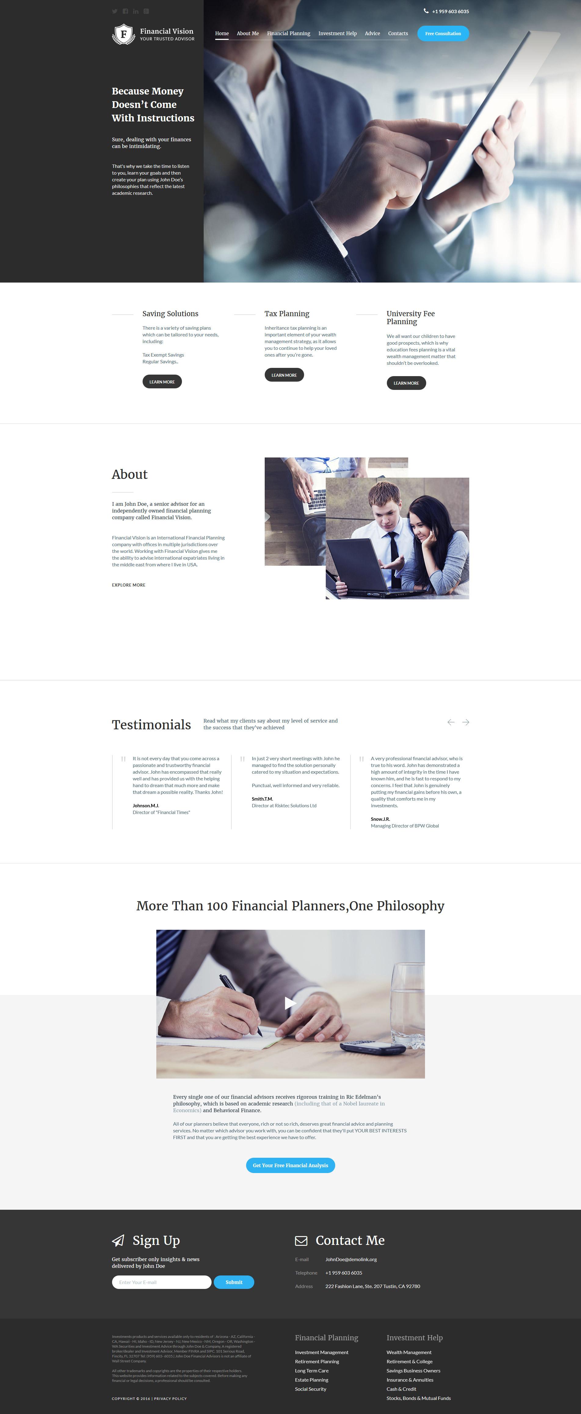 Financial Advision Joomla Template - screenshot