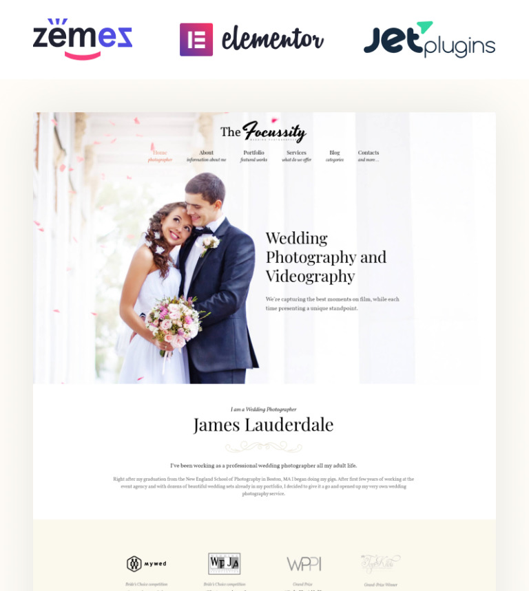 Focussity Wedding Photography WordPress Theme New Screenshots