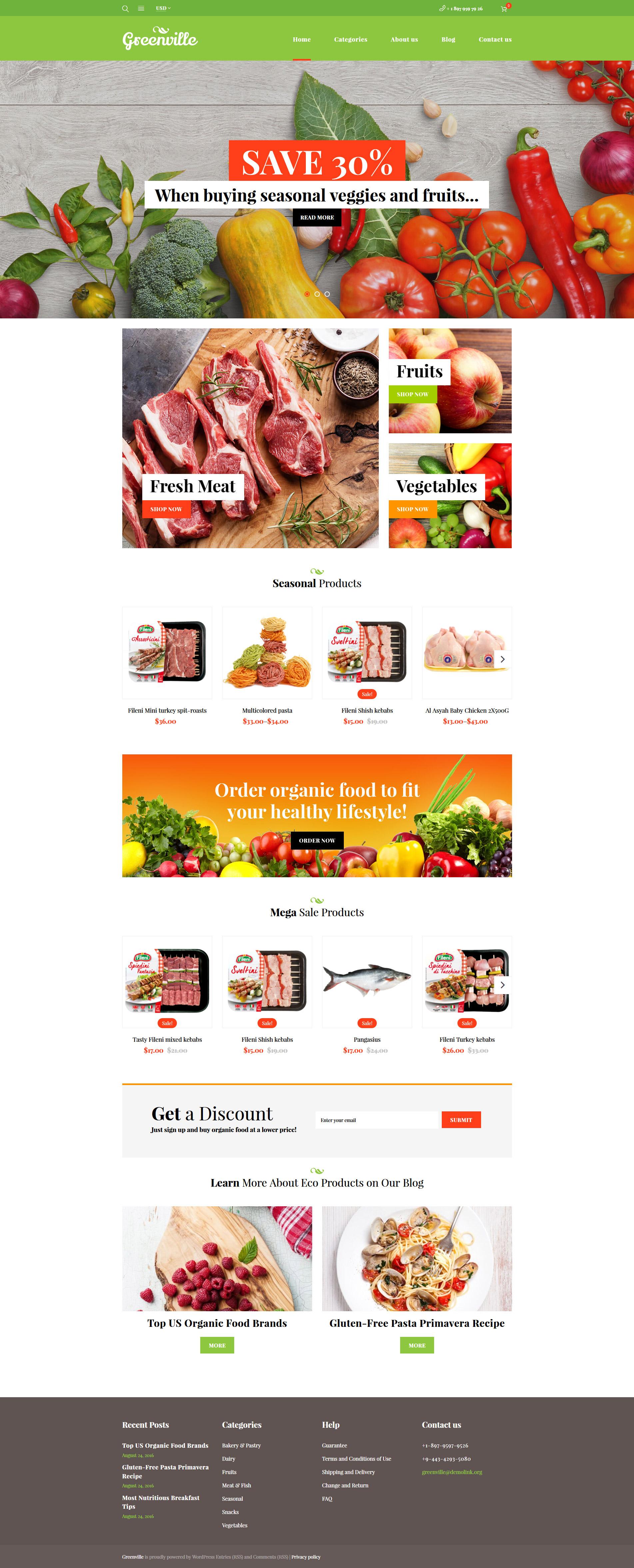 """Greenville - Organic Food Restaurant"" Responsive WooCommerce Thema №59047"