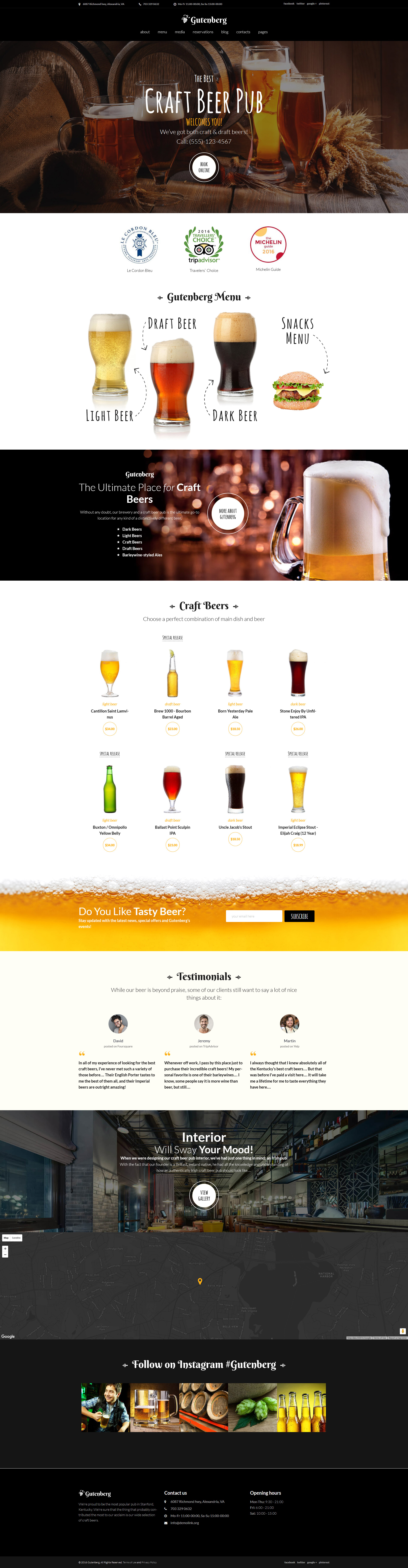 """GutenBerg - Beer Pub and Brewery"" Responsive WordPress thema №59005"