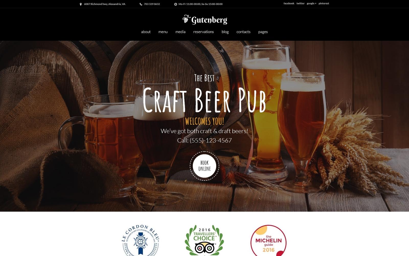"""GutenBerg - Beer Pub and Brewery"" - WordPress шаблон №59005"