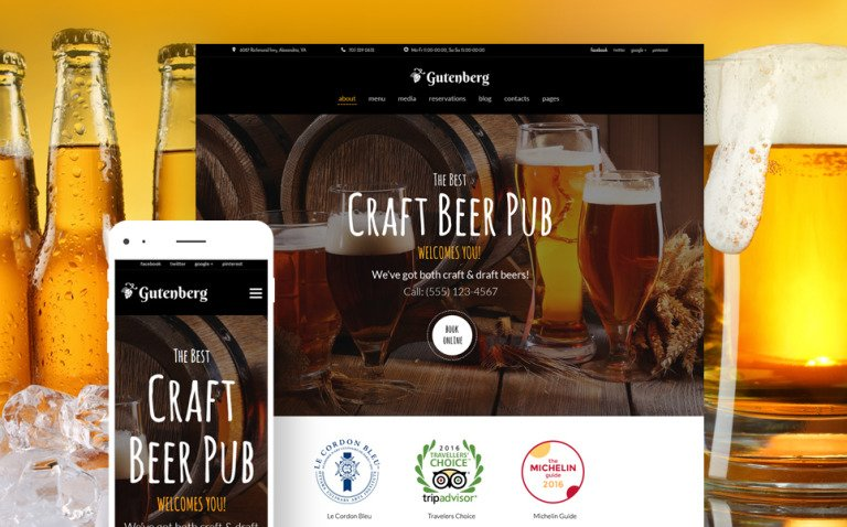 GutenBerg - Beer Pub and Brewery WordPress Theme New Screenshots BIG