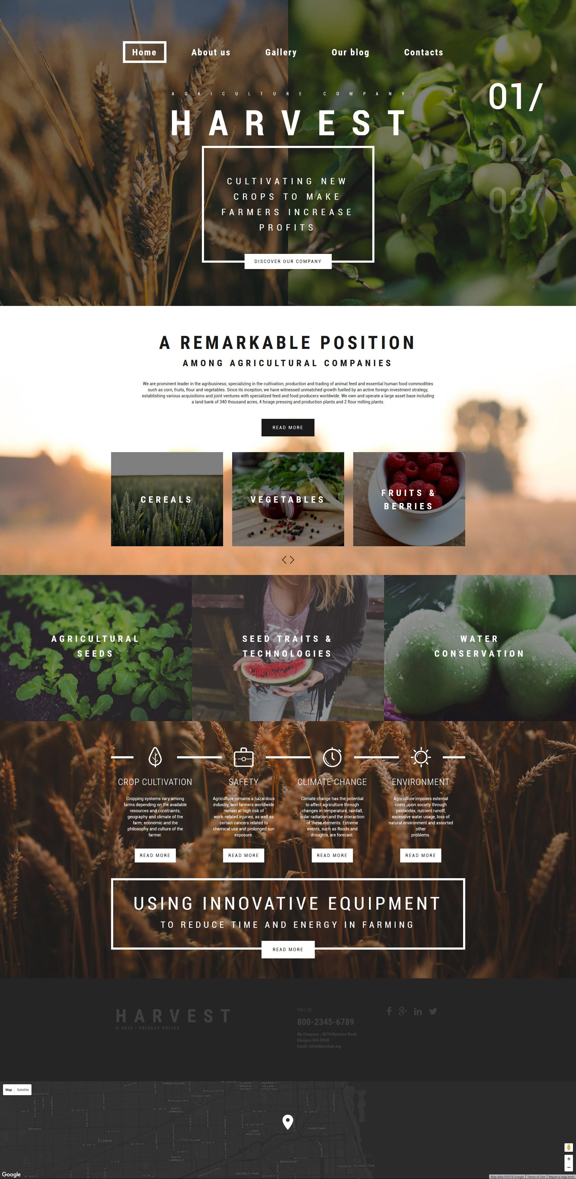 """""""Harvest"""" - адаптивний WordPress шаблон №59096 - скріншот"""