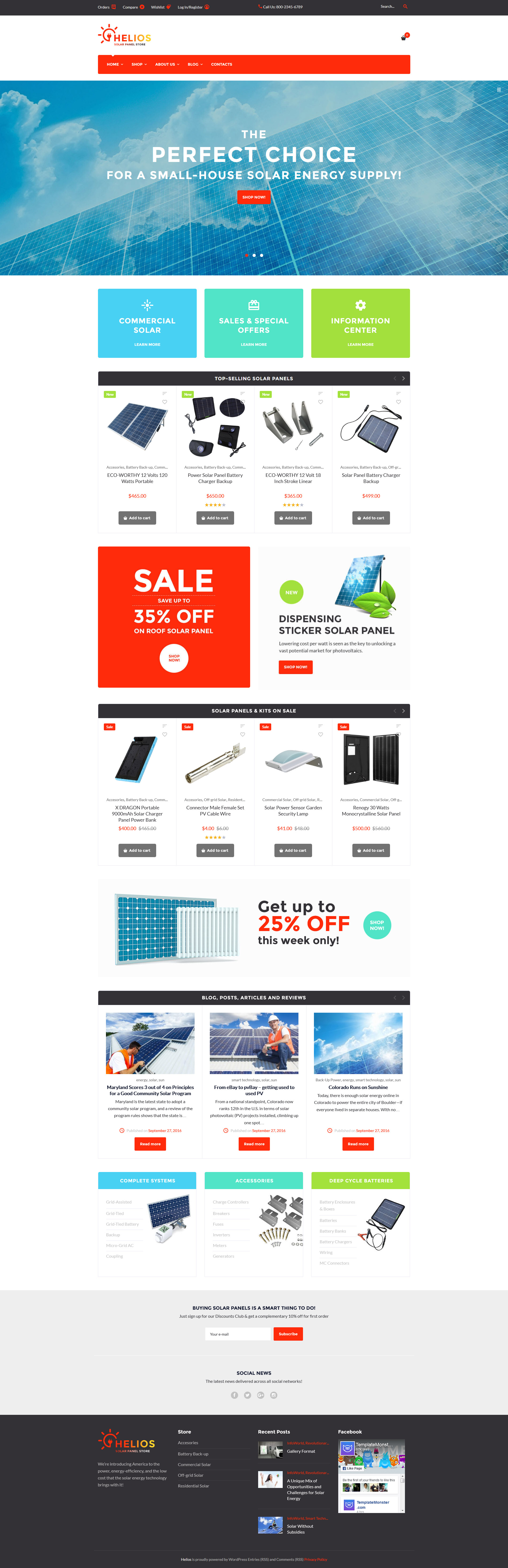 """""""Helios - Solar Panels and Accessories Store"""" Responsive WooCommerce Thema №59040"""
