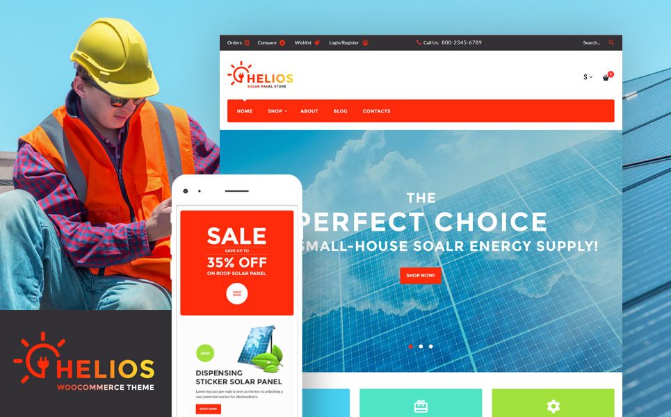 Helios - Solar Panels and Accessories Store WooCommerce Theme New Screenshots BIG