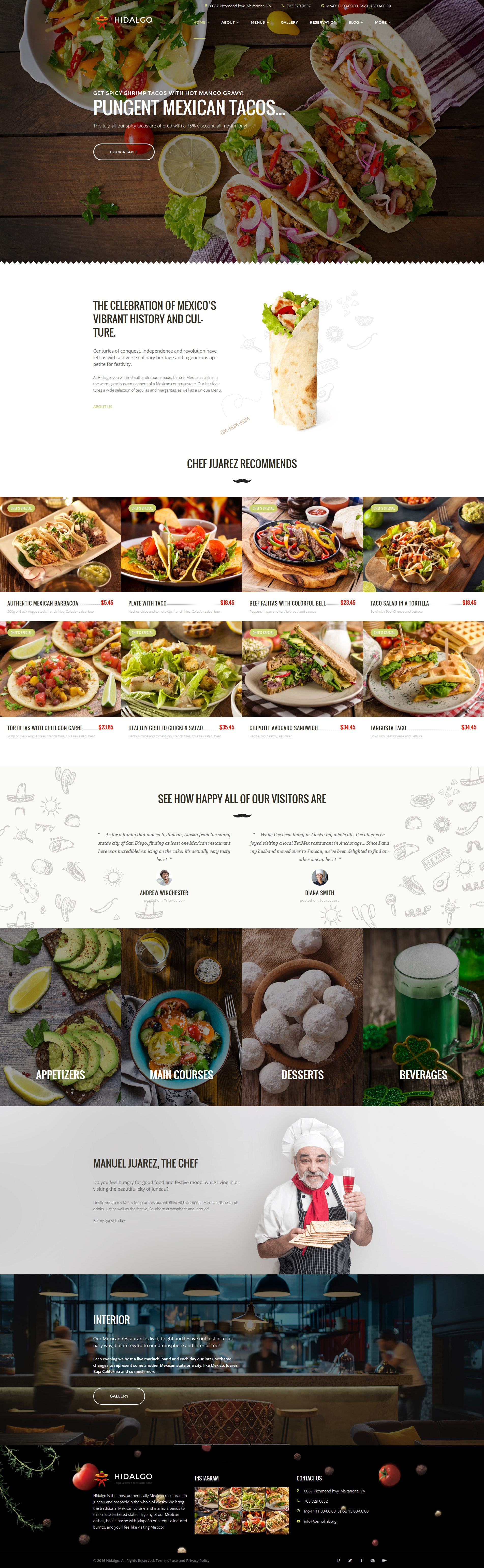 """Hidalgo - Mexican Food Restaurant"" - адаптивний WordPress шаблон №59006"