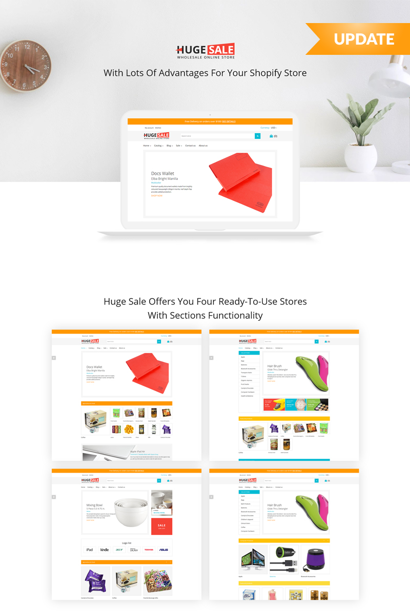 """Huge Sale"" - адаптивний Shopify шаблон №59036"