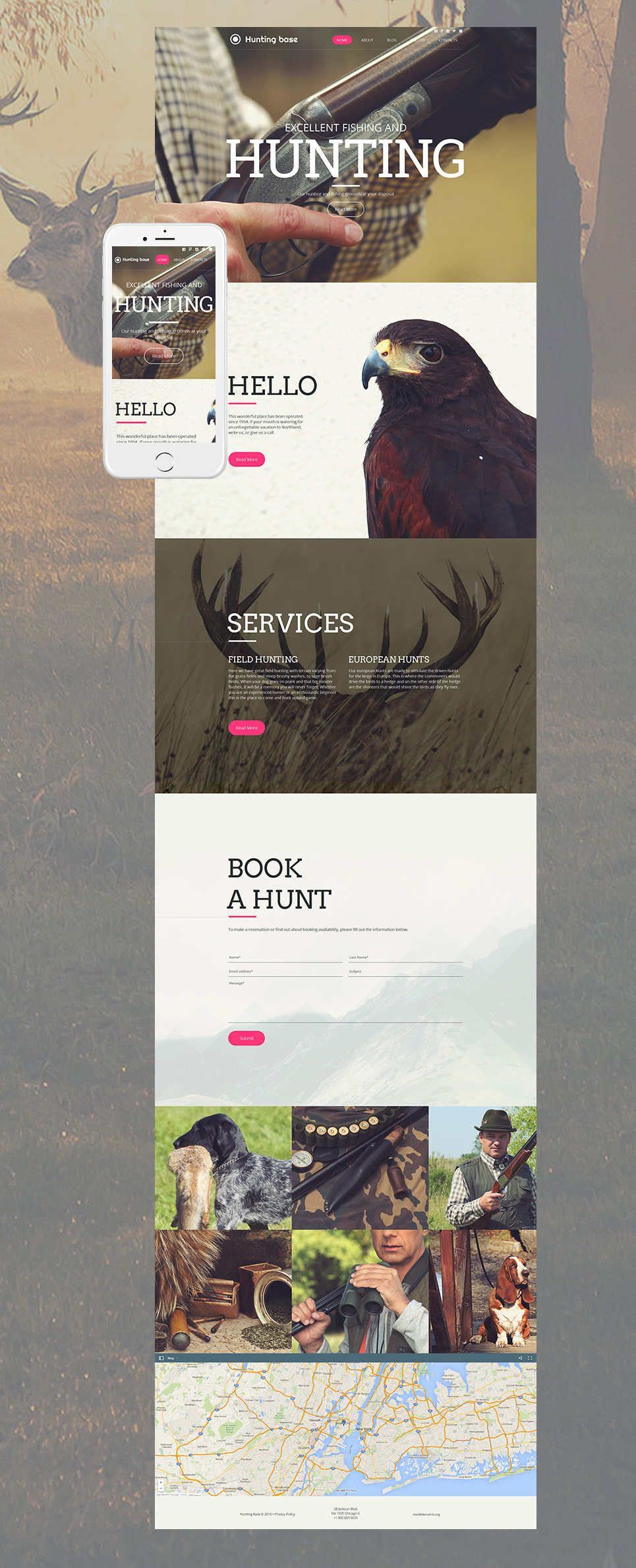 Hunting Moto CMS HTML Template New Screenshots BIG