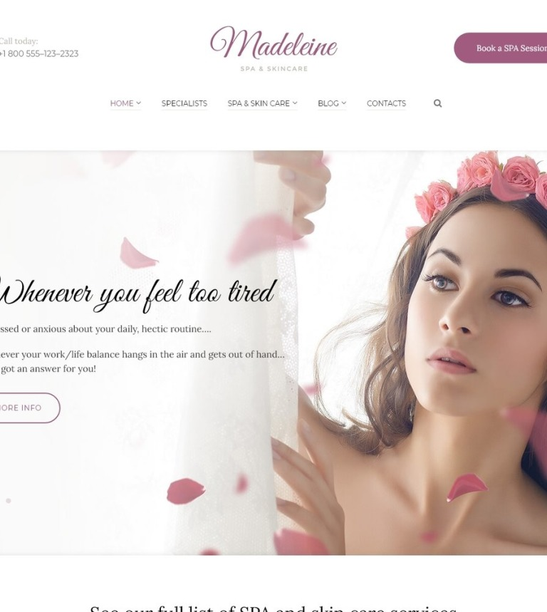 Madeleine - Spa Health & Skincare WordPress Theme