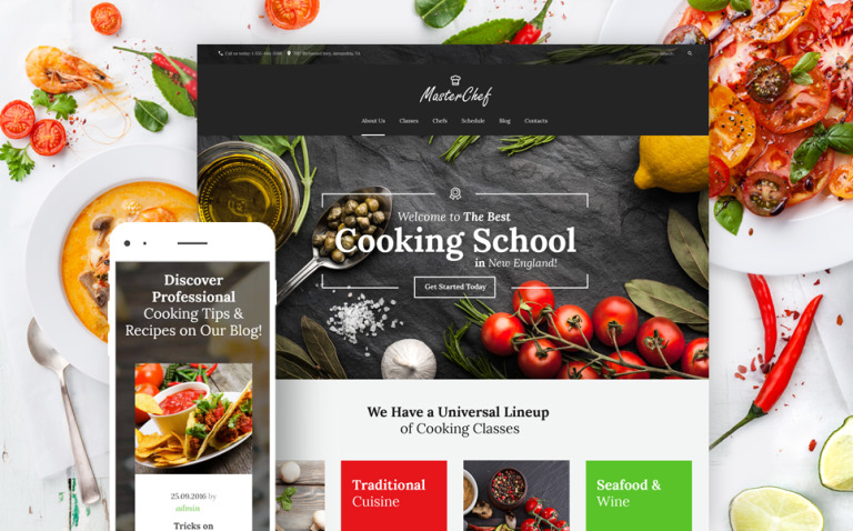 Master Chef Cooking School WordPress Theme New Screenshots BIG