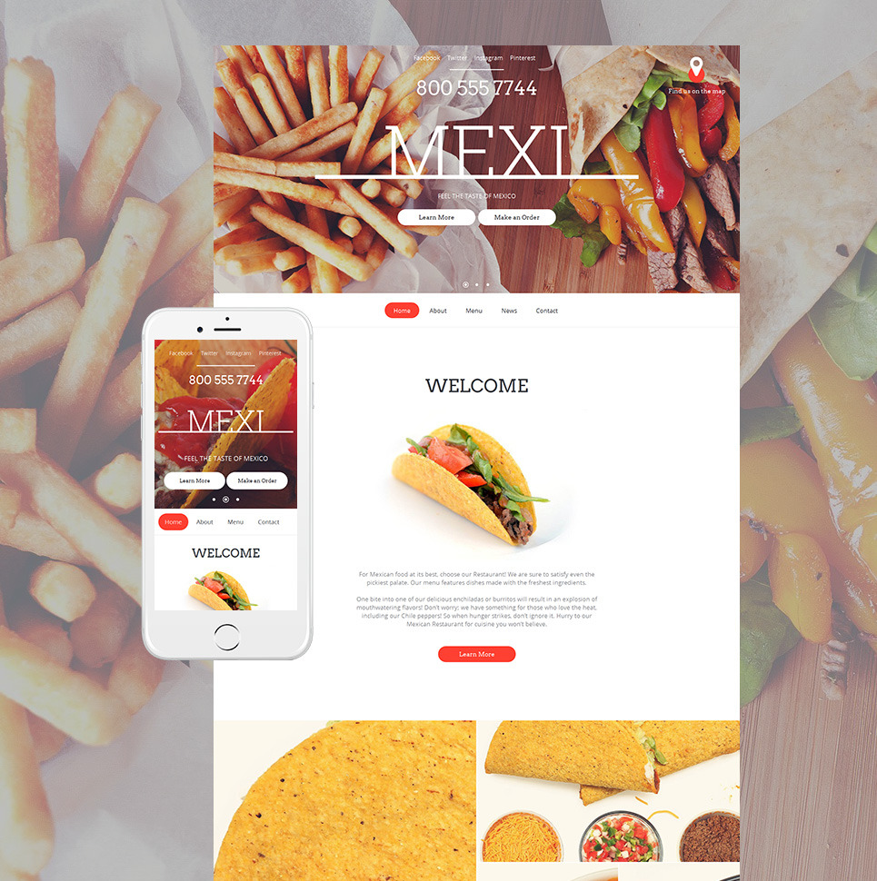Mexican Restaurant Moto CMS HTML Template New Screenshots BIG