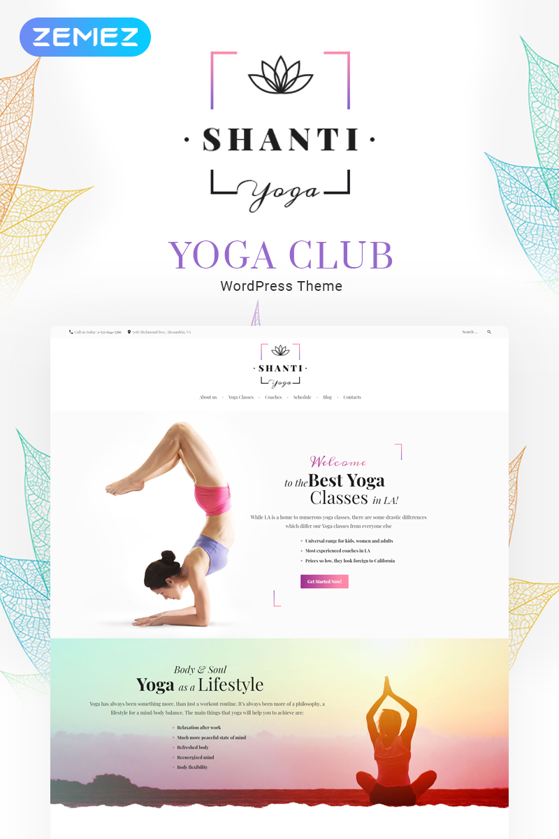 "Modello WordPress Responsive #59009 ""Shanti - Yoga Studio"""