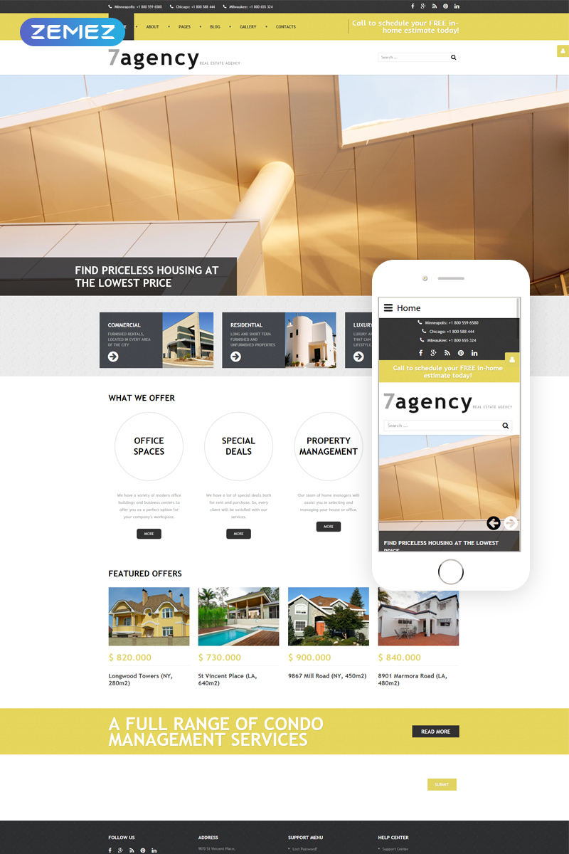 Real Estate Responsive Joomla Template #59092