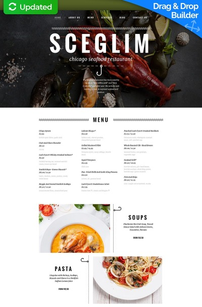 Seafood Restaurant Responsive Moto CMS 3 Template