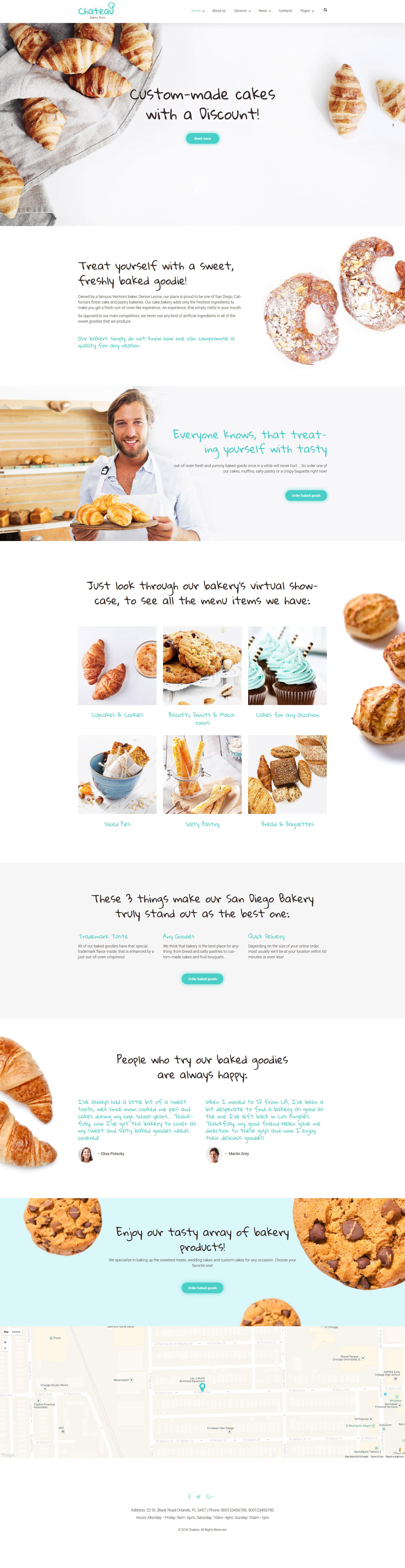 Responsivt Chateau - Bakery and Receipts WordPress-tema #59016