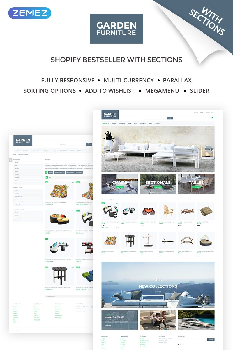 Responsywny szablon Shopify Garden Furniture - Furniture & Interior Design #59042 - zrzut ekranu