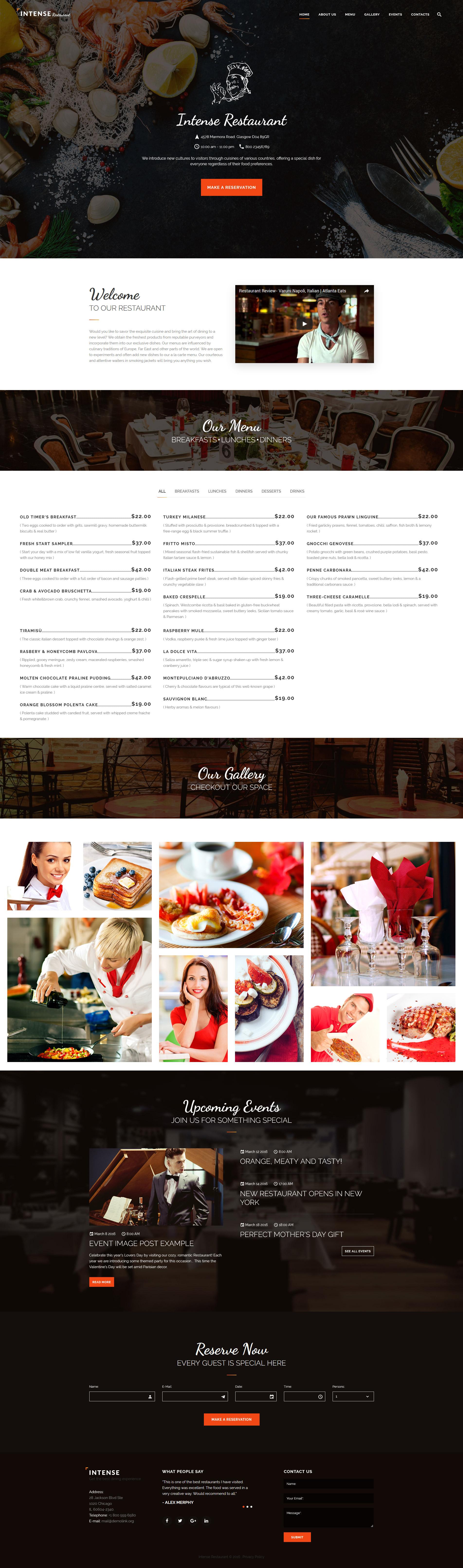 """Responzivní Šablona webových stránek """"INTENSE Restaurant"""" #59048"""