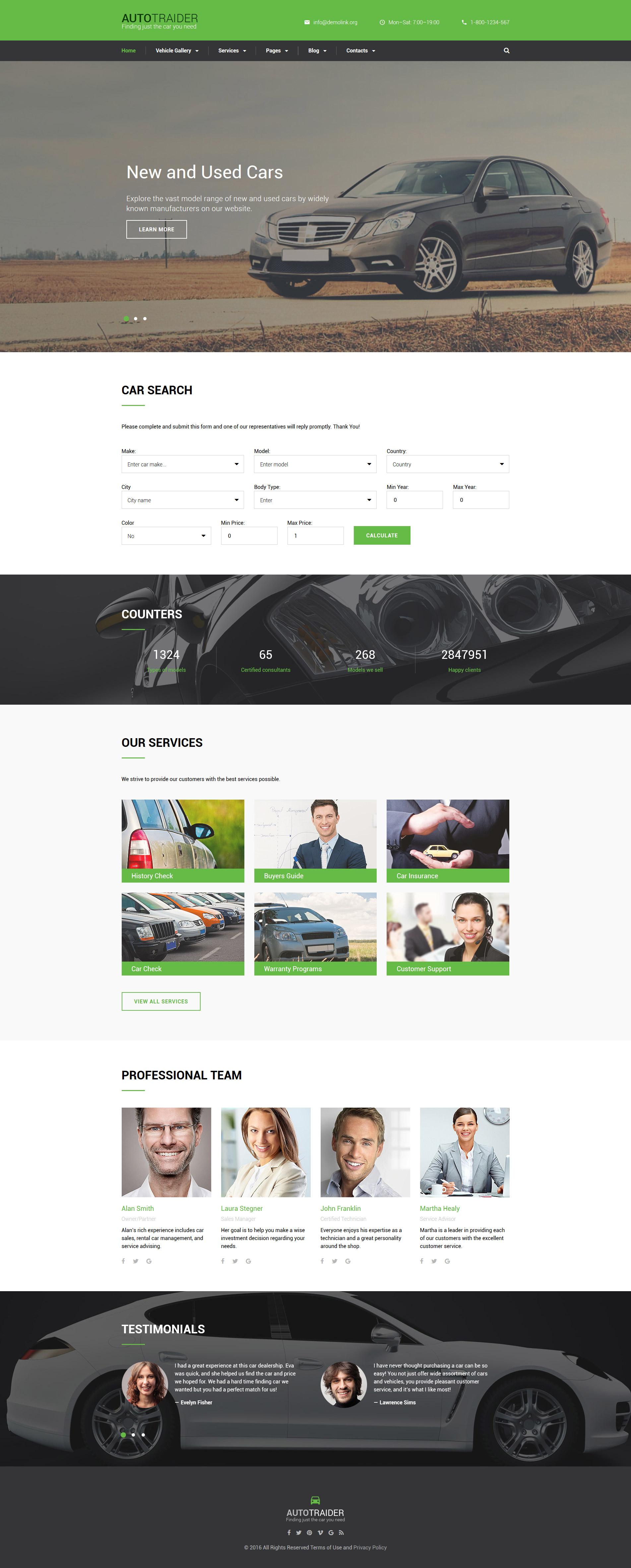 Reszponzív AutoTrader Weboldal sablon 59051